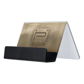 Rough Metal Plate Bronze ID327 Desk Business Card Holder