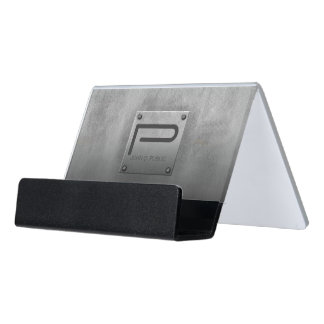 Rough Metal Plate Gray ID327 Desk Business Card Holder