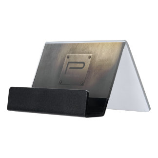 Rough Metal Plate Tarnished ID327 Desk Business Card Holder