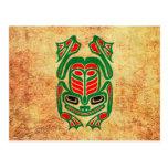 Rough Native Haida Art Frog, red green