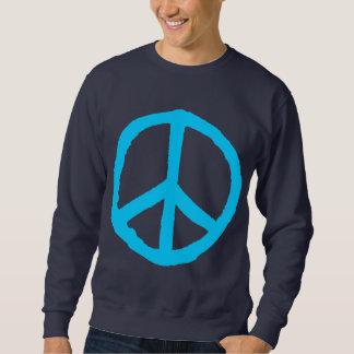 Rough Peace Symbol - Sky Blue on Dark Sweatshirt