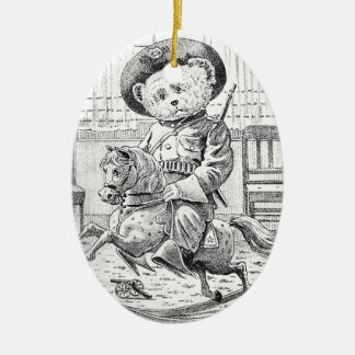 Rough Rider Teddy Bear on Rocking Horse Christmas Ornament