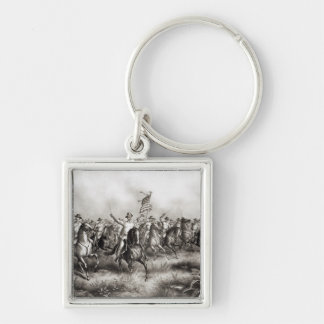 Rough Riders: Colonel Theodore Roosevelt Silver-Colored Square Key Ring