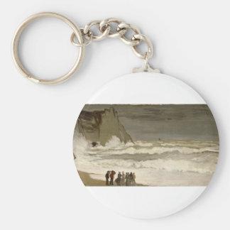 Rough Sea at Etretat (1868-1869) Basic Round Button Key Ring
