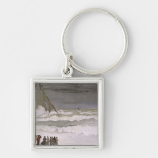 Rough Sea at Etretat, 1868-69 Silver-Colored Square Key Ring