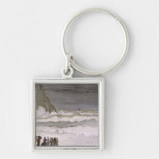 Rough Sea at Etretat, 1868-69 Silver-Colored Square Key Ring