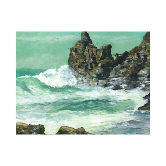 Rough sea at Trevaunance Cove St Agnes Canvas