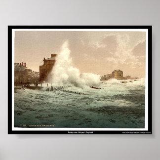 Rough sea, Bognor, England Poster