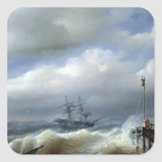 Rough Sea in Stormy Weather, 1846 Square Sticker