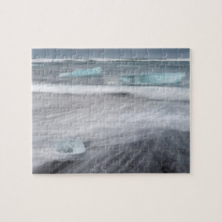 Rough Seascape with ice, iceland Puzzle