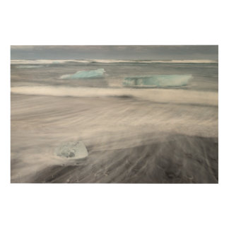 Rough Seascape with ice, iceland Wood Print