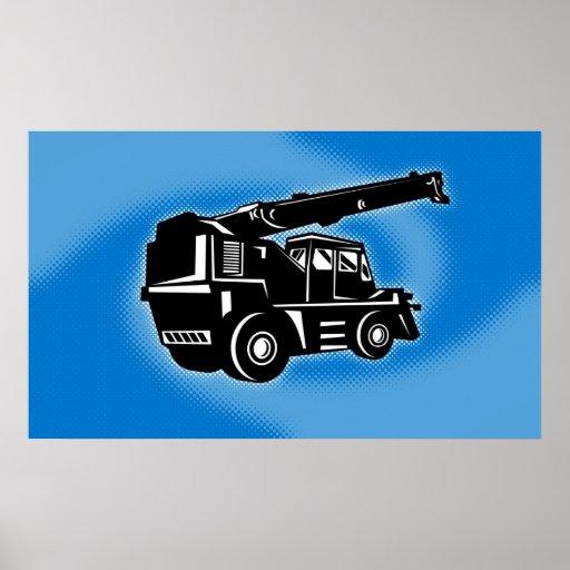 rough terrain crane contstruction vehicle poster
