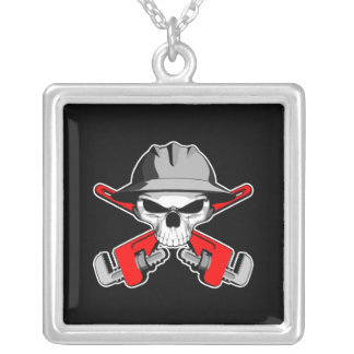Roughneck Skull and Crossed Wrenches Square Pendant Necklace