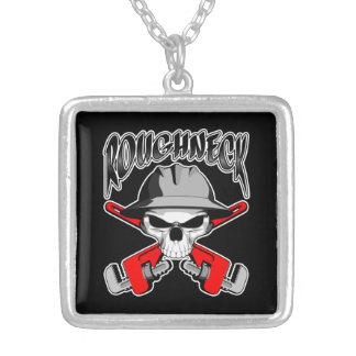 Roughneck Skull Square Pendant Necklace