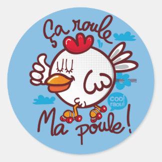 Roule ma poule classic round sticker