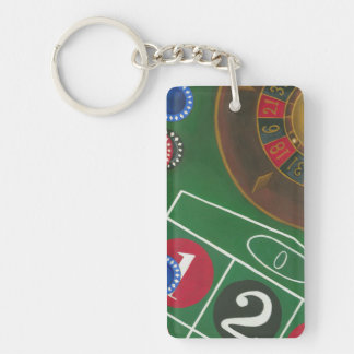 Roulette Table with Chips and Wheel Key Ring