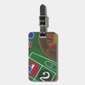 Roulette Table with Chips and Wheel Luggage Tag