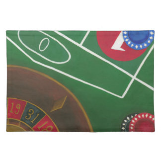 Roulette Table with Chips and Wheel Placemat