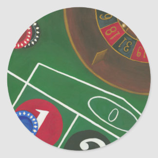 Roulette Table with Chips and Wheel Round Sticker