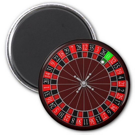 ROULETTE WHEEL 6 CM ROUND MAGNET