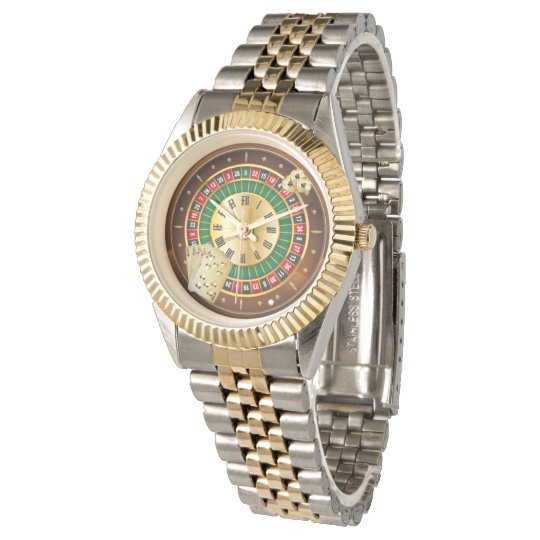 roulette wheel and cards two-tone bracelet watch