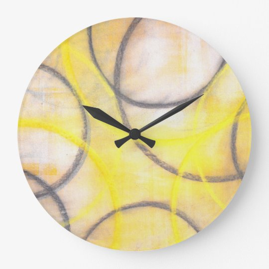 'Round About' Grey and Yellow Abstract Art Clock