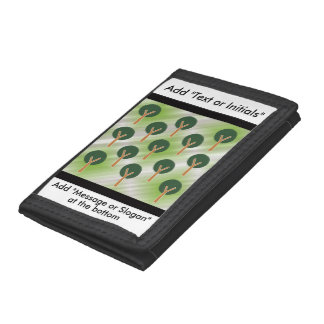 Round Abstract Trees Tri-fold Wallet
