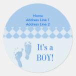 Round Address Label Blue Baby Feet Baby Shower Round Sticker