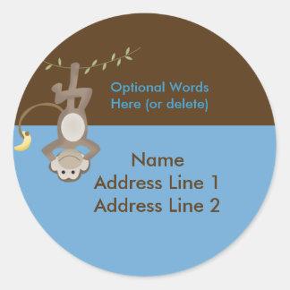 Round address label Monkey Around Blue & Brown Round Sticker