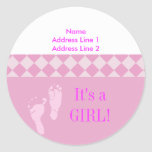 Round Address Label Pink Baby Feet Baby Shower Round Sticker