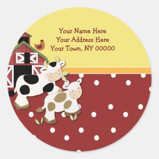 Round Address Labels Baby Moo Cow Red Round Sticker