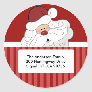 ROUND ADDRESS LABELS Cute Santa Claus Holiday