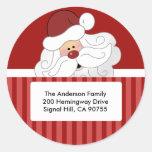 ROUND ADDRESS LABELS Cute Santa Claus Holiday Round Sticker