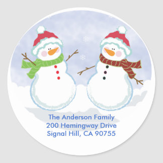 ROUND ADDRESS LABELS Cute Snowman Holiday Round Sticker