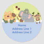 Round Address Labels - Jungle Safari Blue / Green Round Sticker
