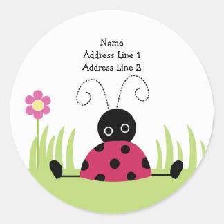 ROUND ADDRESS LABELS Little Ladybug Stickers