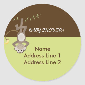 Round Address Labels Monkeying Around Green/Brown Round Sticker