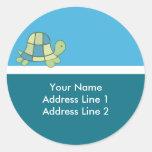 Round Address Labels Turtle Bay Blue Round Stickers