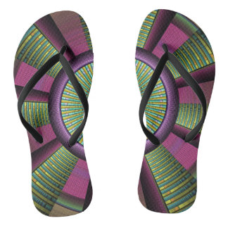 Round And Colorful Modern Decorative Fractal Art Flip Flops