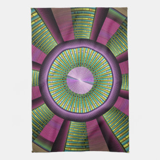 Round And Colorful Modern Decorative Fractal Art Tea Towel