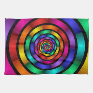 Round and Psychedelic Colorful Modern Fractal Art Tea Towel
