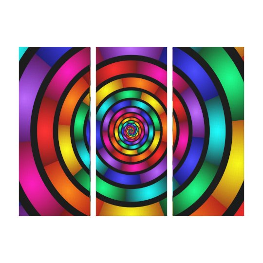 Round and Psychedelic Colourful Modern Triptych Canvas Print