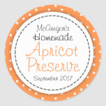 Round apricot preserve jam orange food label round sticker