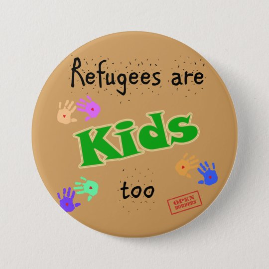 Round badge supporting refugee crisis