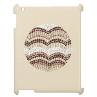Round Beige Mosaic Glossy iPad Case
