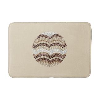 Round Beige Mosaic Medium Bath Mat