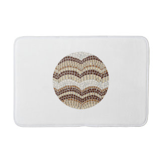 Round Beige Mosaic Medium Bath Mat Bath Mats