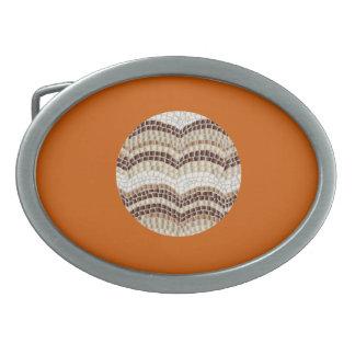 Round Beige Mosaic Oval Belt Buckle