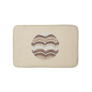 Round Beige Mosaic Small Bath Mat