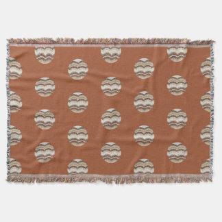 Round Beige Mosaic Throw Blanket
